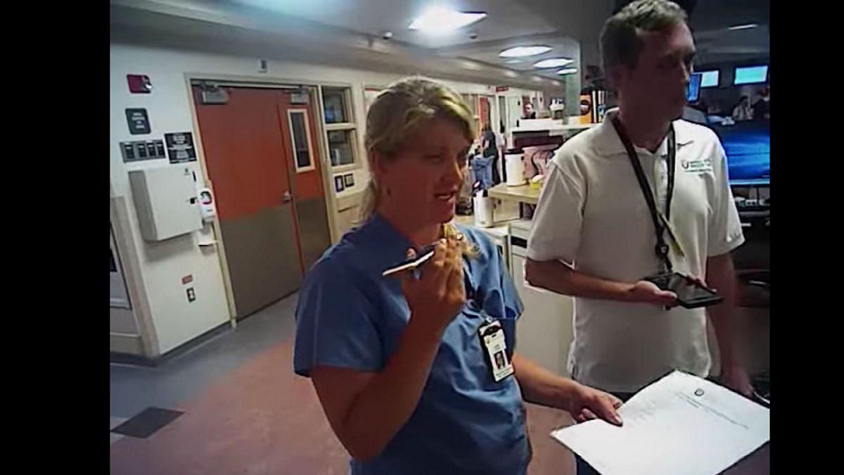 (Video) Brutal arresto de enfermera por negarse a sacar sangre a paciente