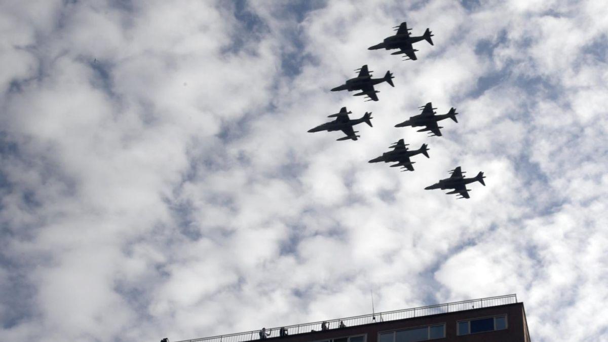 Se estrella avión del Ejército español tras desfile militar