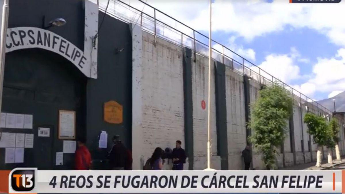 Cuatro reos se fugaron desde la cárcel de San Felipe este jueves