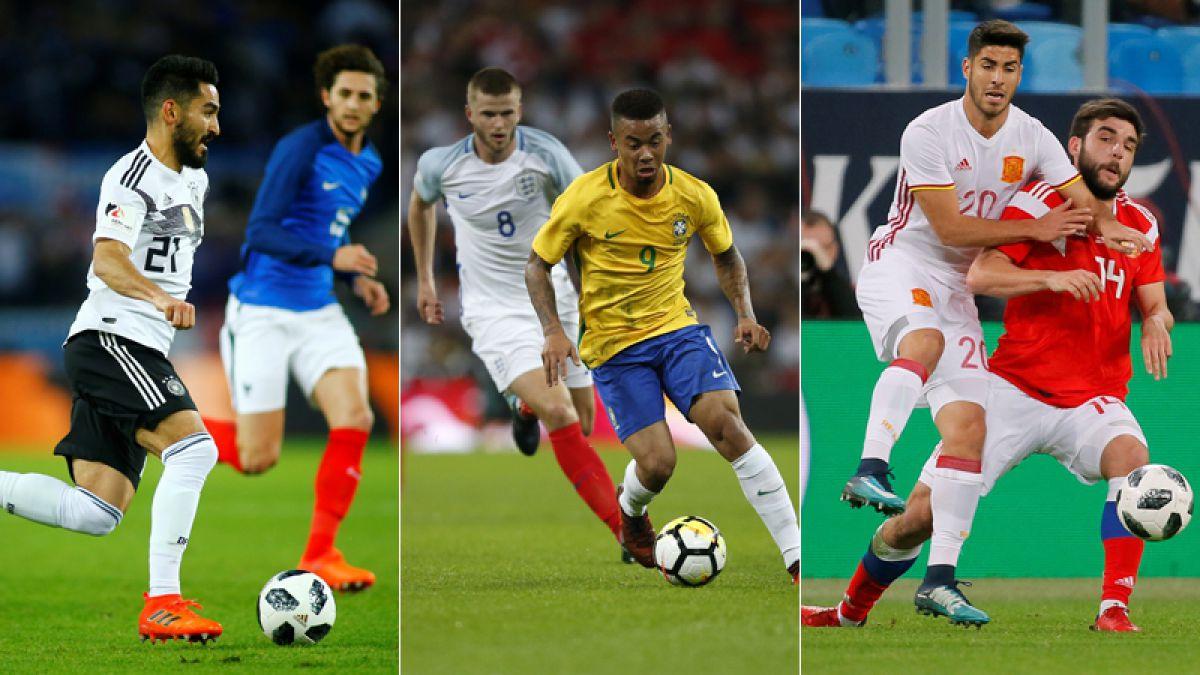 Alemania-Francia, Inglaterra-Brasil y Rusia-España igualan en amistosos de preparación al Mundial
