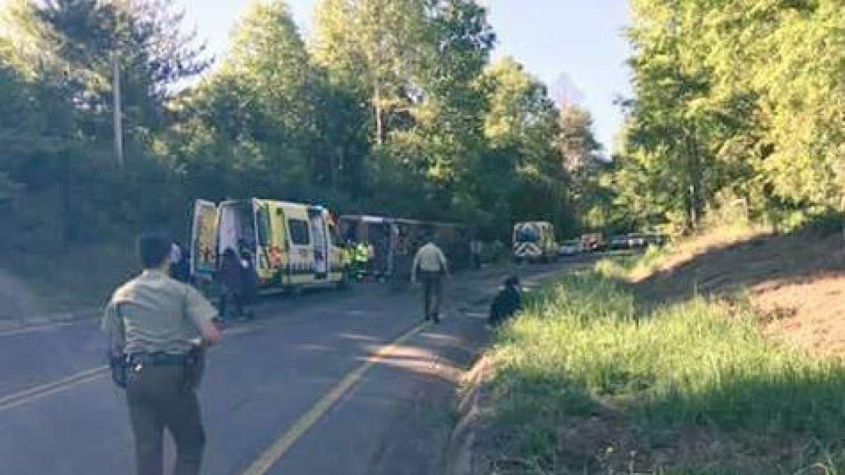 Mueren once personas por volcamiento de bus en Chile