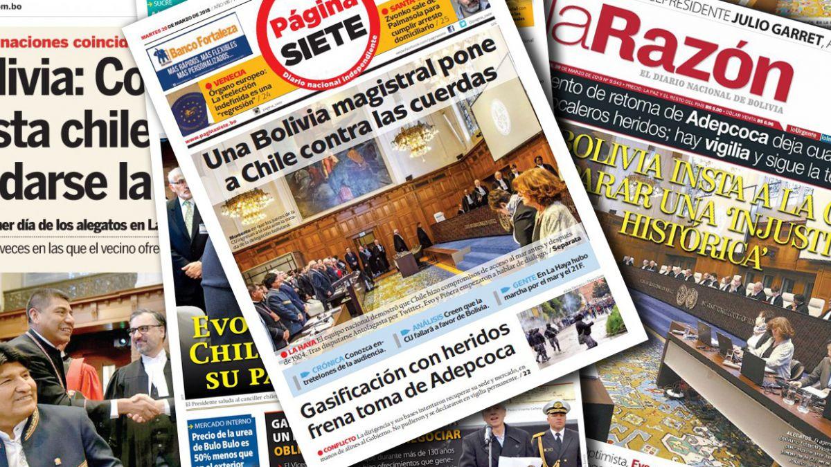 Las portadas bolivianas luego de los primeros alegatos en La Haya