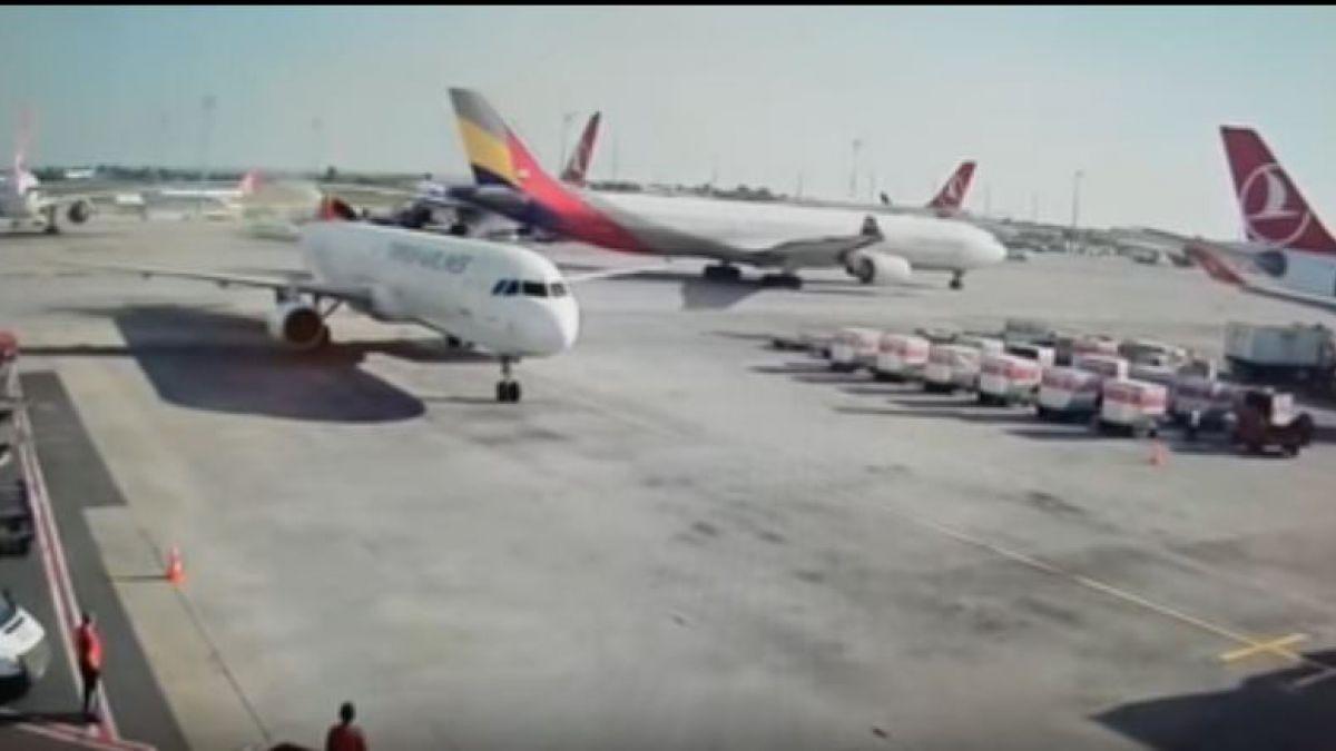 Chocaron 2 aviones con pasajeros en el aeropuerto de Estambul — Mal cálculo