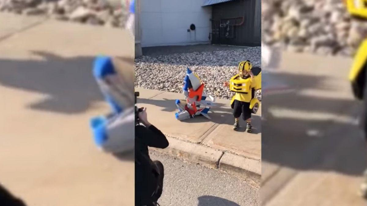 Niños sorprenden con espectacular transformación en Autobots | Tele 13
