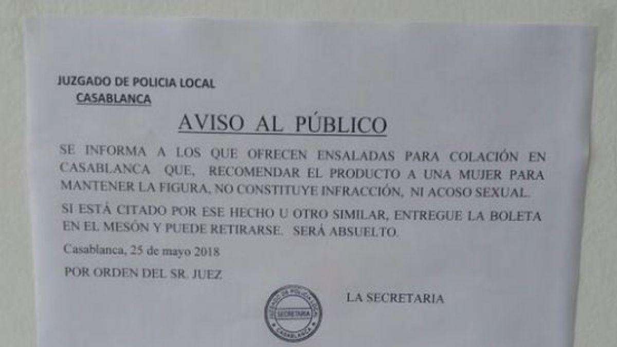 Aviso Público Juez de Casablanca