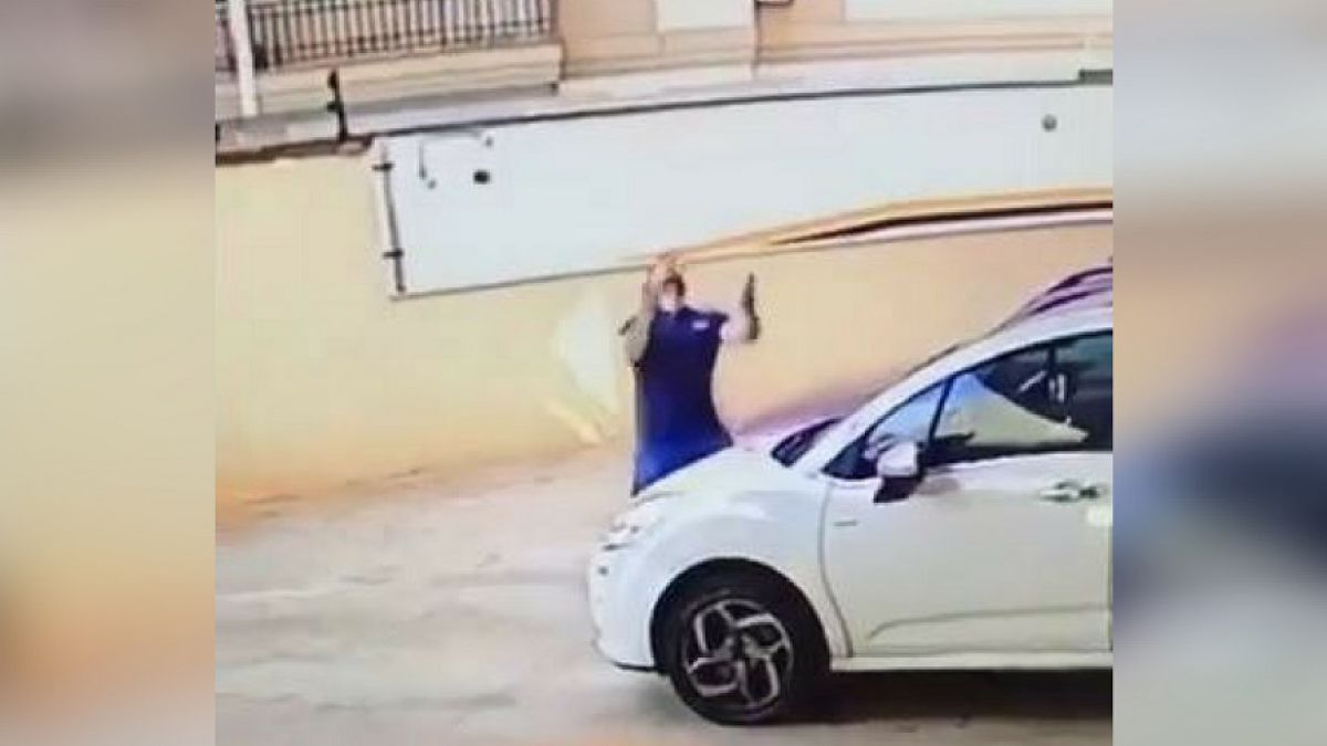 [VIDEO] Cámaras de seguridad captan a hombre salvando a perro que cae desde noveno piso