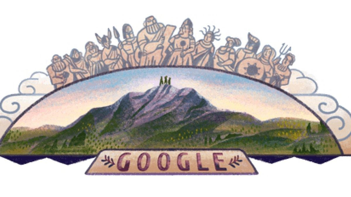 100 años del ascenso al Monte Olimpo — Google doodle