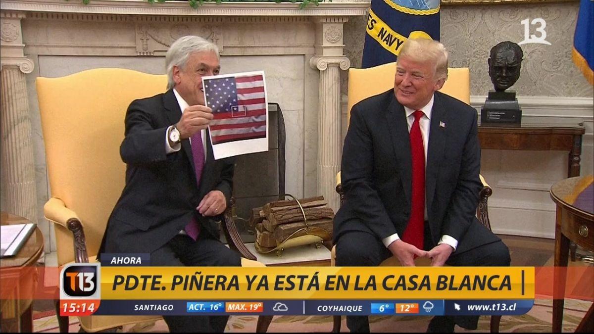 El juego de banderas que marcó la cumbre Piñera-Trump | Tele 13