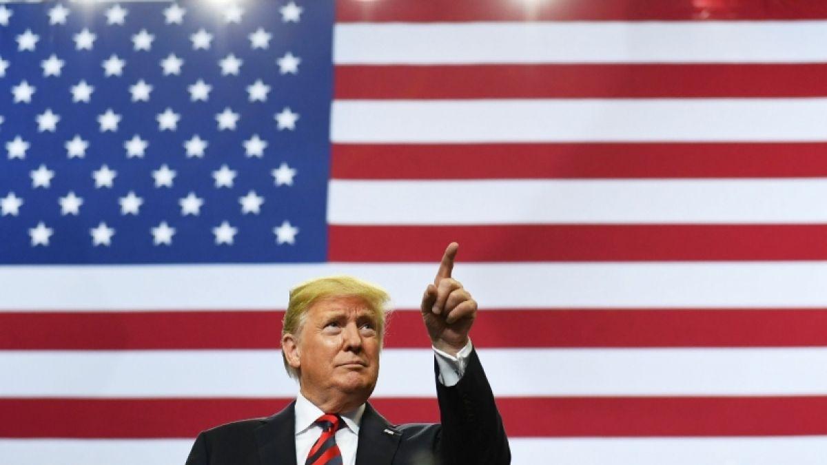 Donald Trump posa con la bandera (oficial) de Estados Unidos al fondo