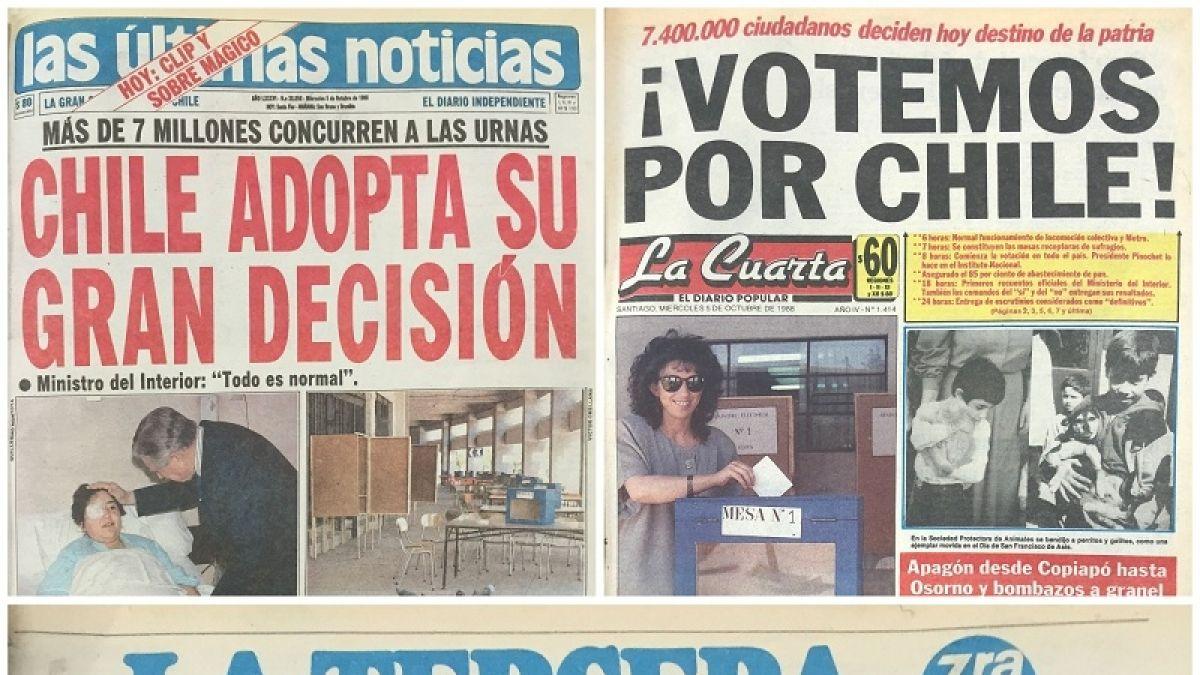 Las portadas del día del plebiscito de 1988 | Tele 13