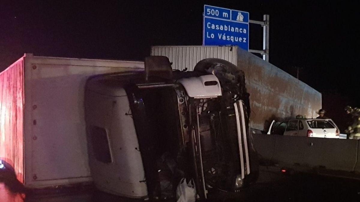 Accidente en Ruta 68 provoca corte de tránsito en el sector de Casablanca