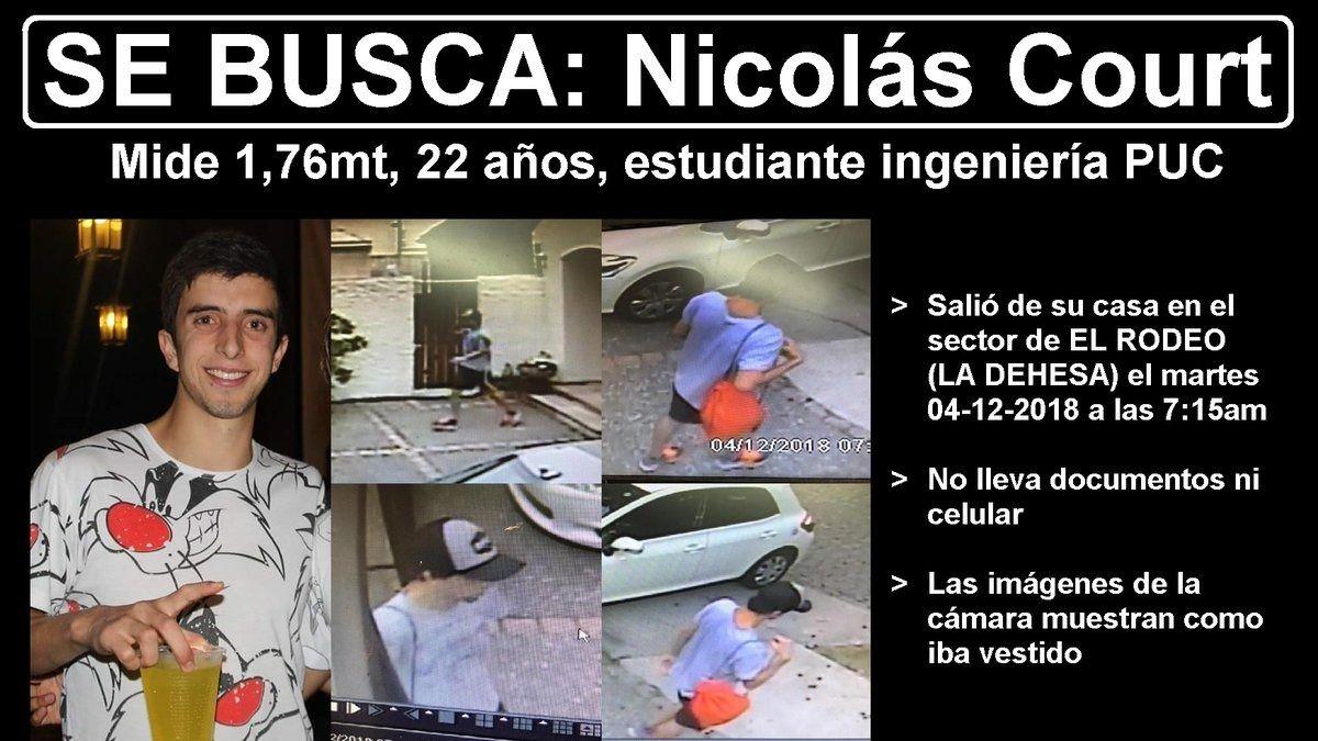 Nicolás Court: familiares realizan campaña de búsqueda de joven universitario