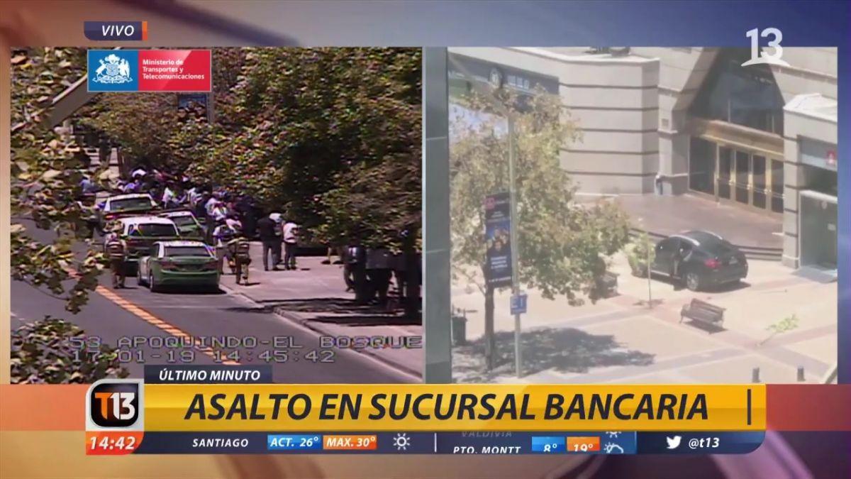 Asalto afecta a sucursal bancaria en Las Condes