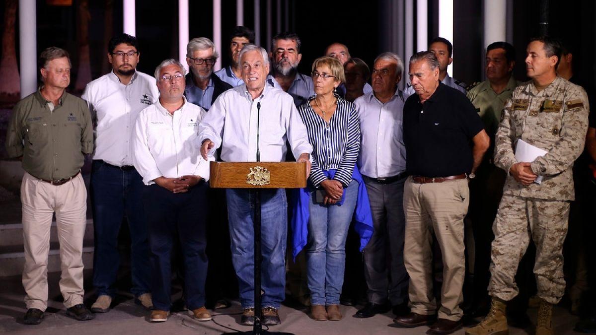 Presidente Piñera: Nadie puede asegurar que no vamos a tener nuevos eventos meteorológicos