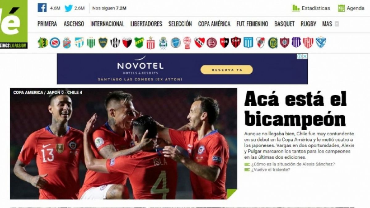 """""""Debuta a lo campeón"""": Prensa internacional destaca el juego de Chile en su debut en Copa América"""