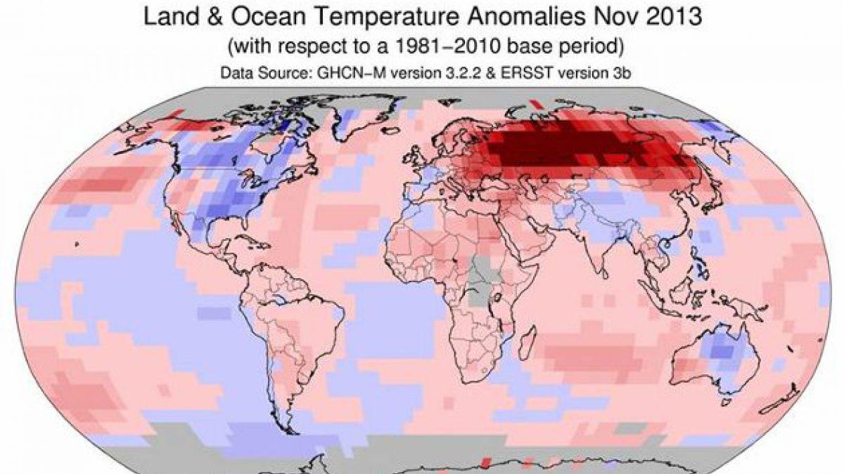 Noviembre pasado fue el mes más caluroso en la Tierra desde 1880