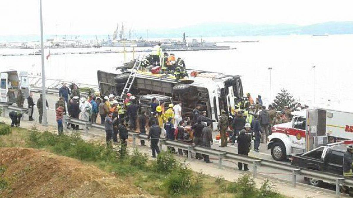 Tragedia en Talcahuano: Bus que trasladaba a 40 escolares se volcó