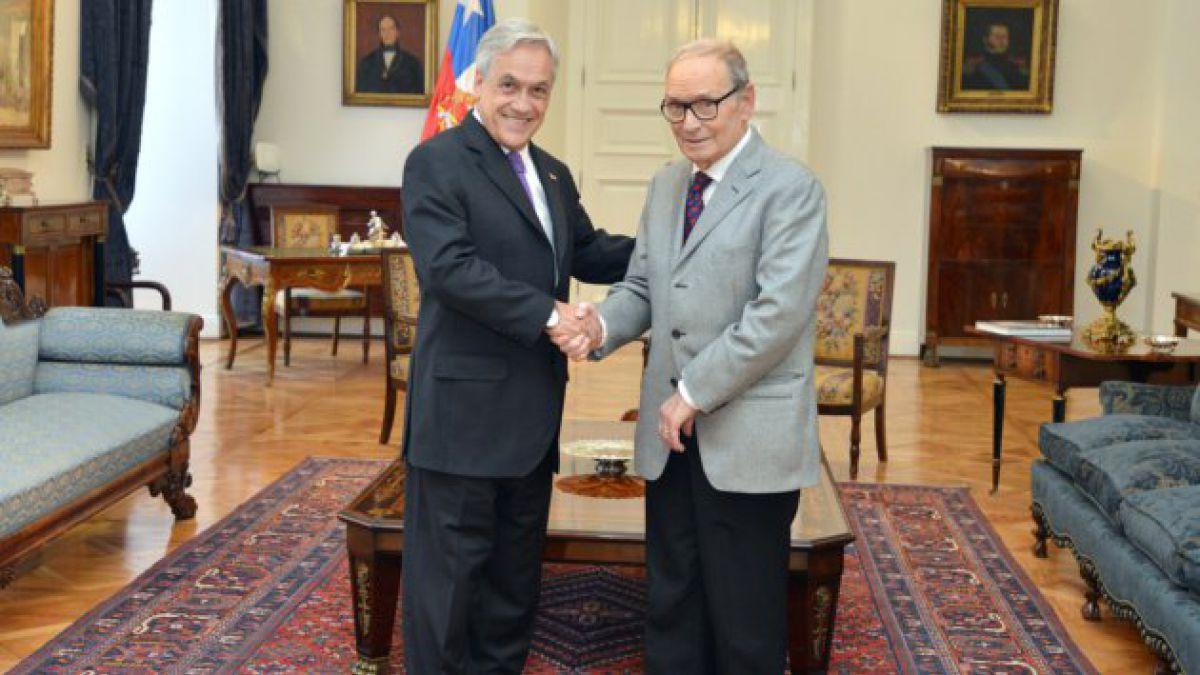Así fue la visita de Ennio Morricone a La Moneda