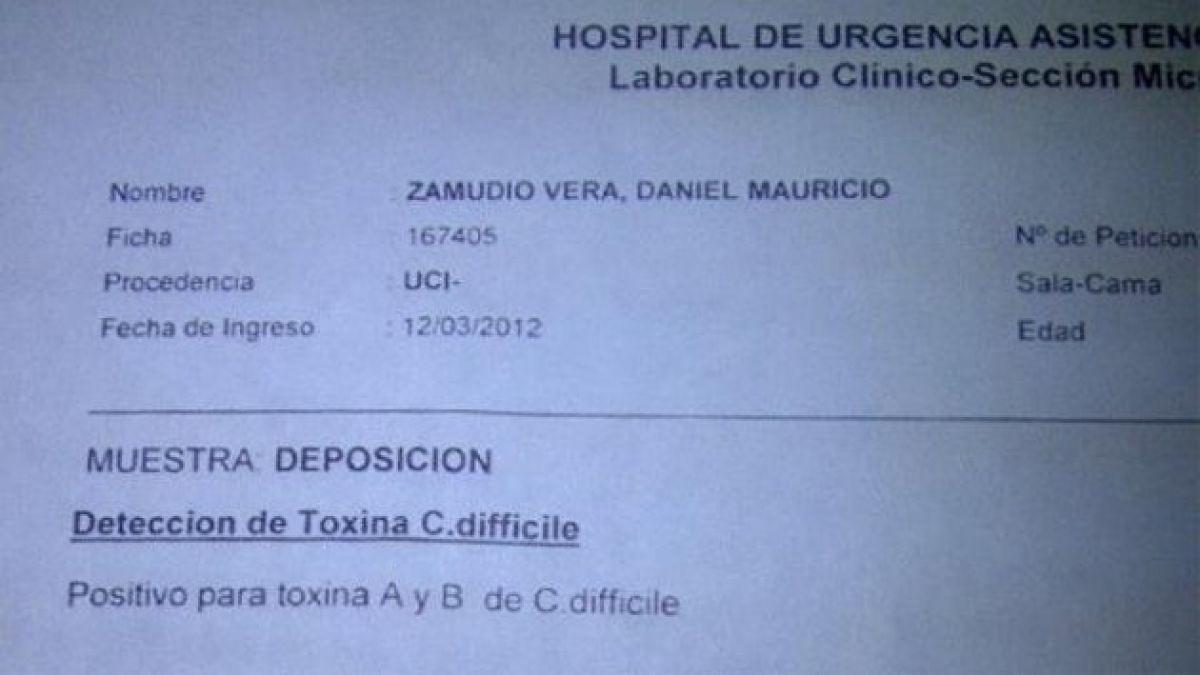 Diputado confirma con examen que Zamudio tenía la bacteria Clostridium Difficile