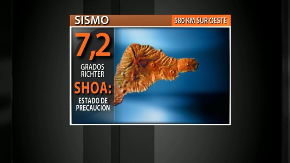 SHOA establece estado de precaución por tsunami menor en Isla de Pascua tras sismo de 7.2°