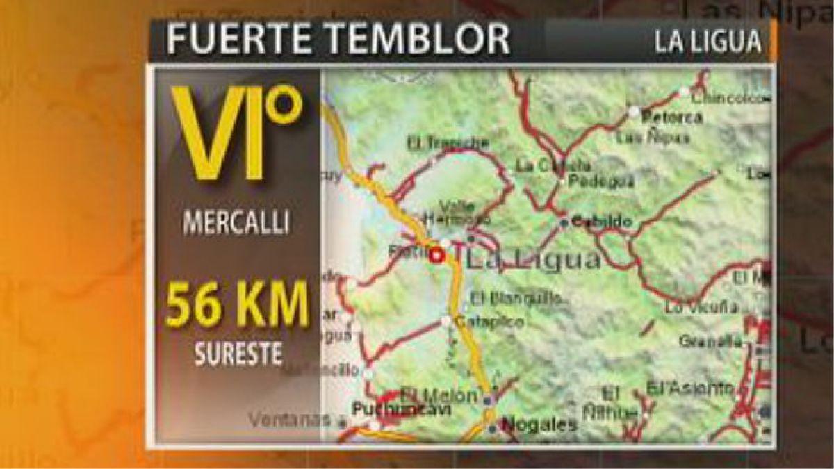 Sismo de 5,7 grados Richter se sintió en zona centro del país