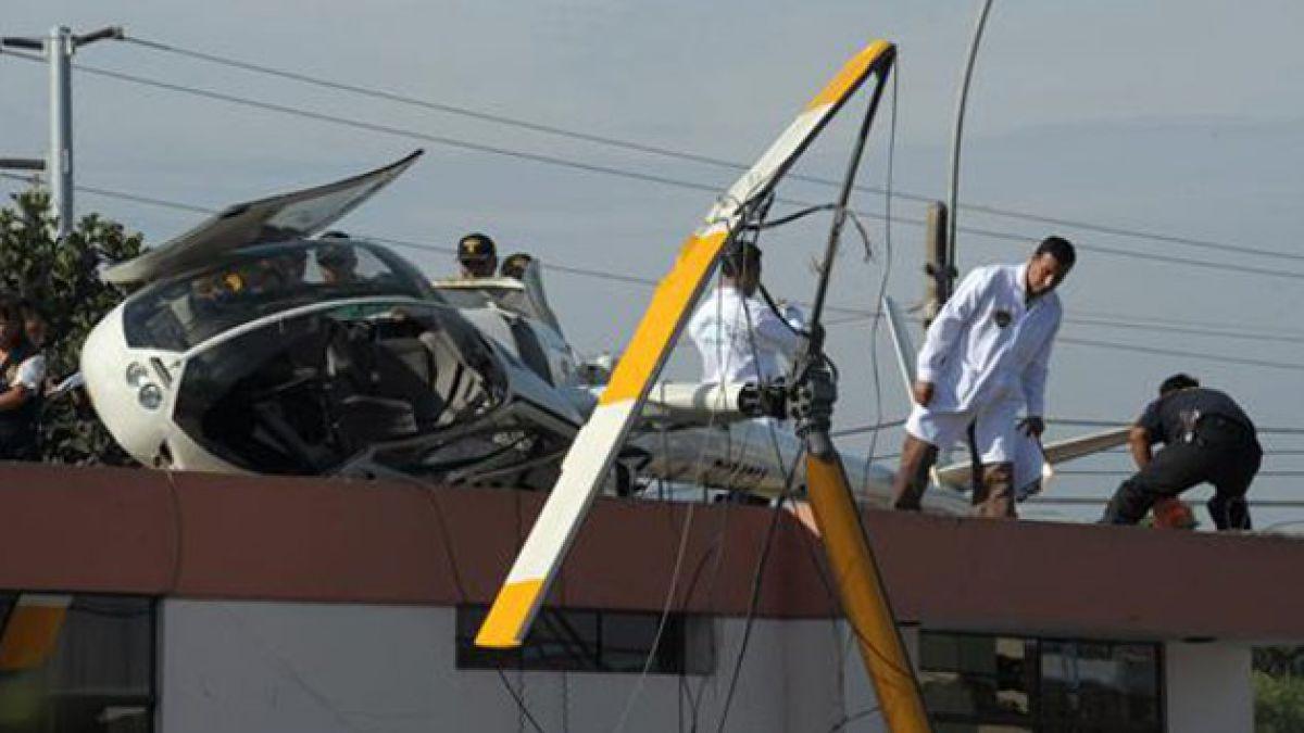 Helicóptero cae sobre casa en Perú y deja un herido