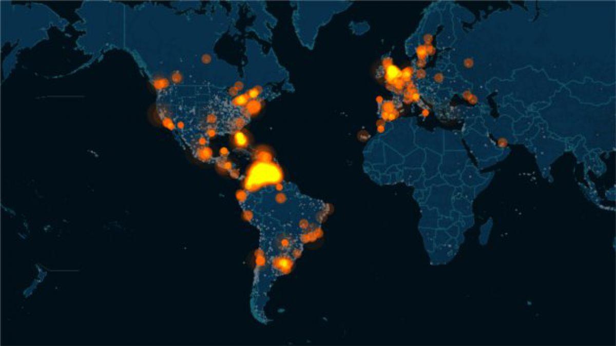 Mapa muestra actividad mundial en Twitter ante crisis en Venezuela