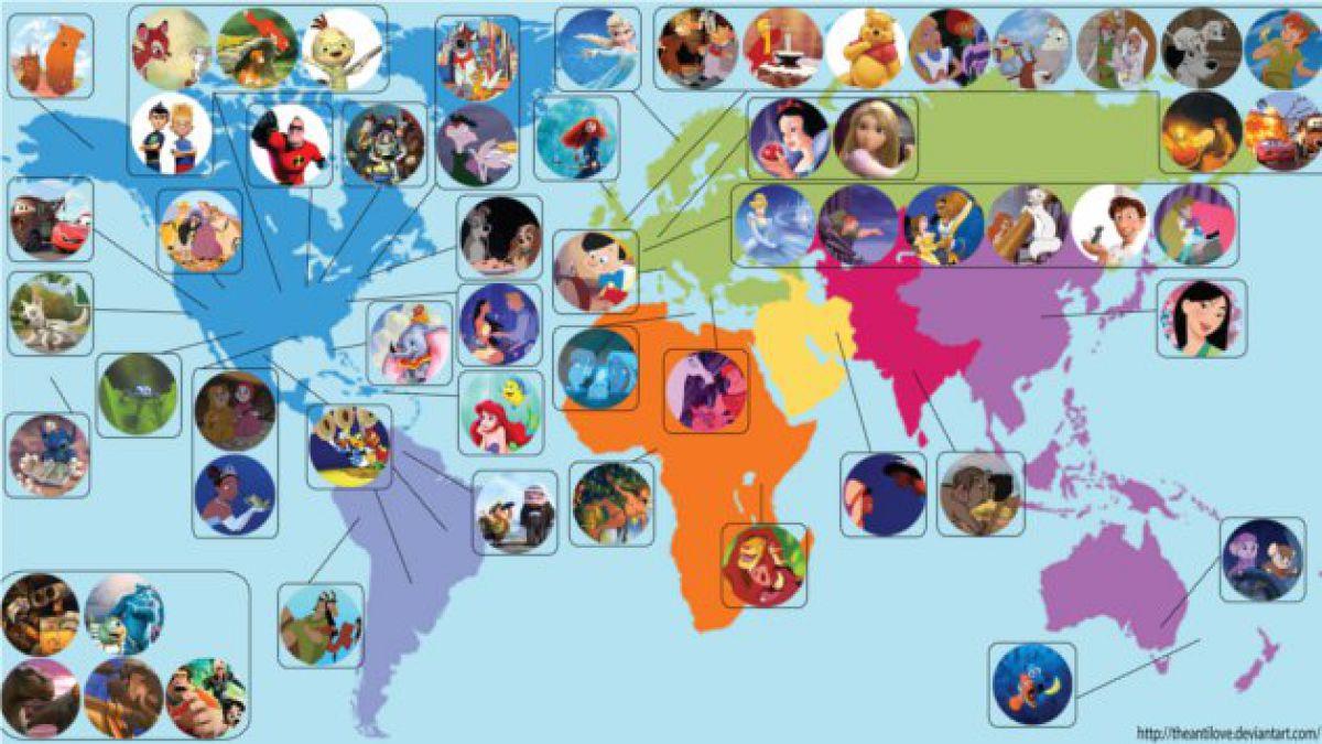 Crean mapa que ubica a las películas de Disney en el mundo