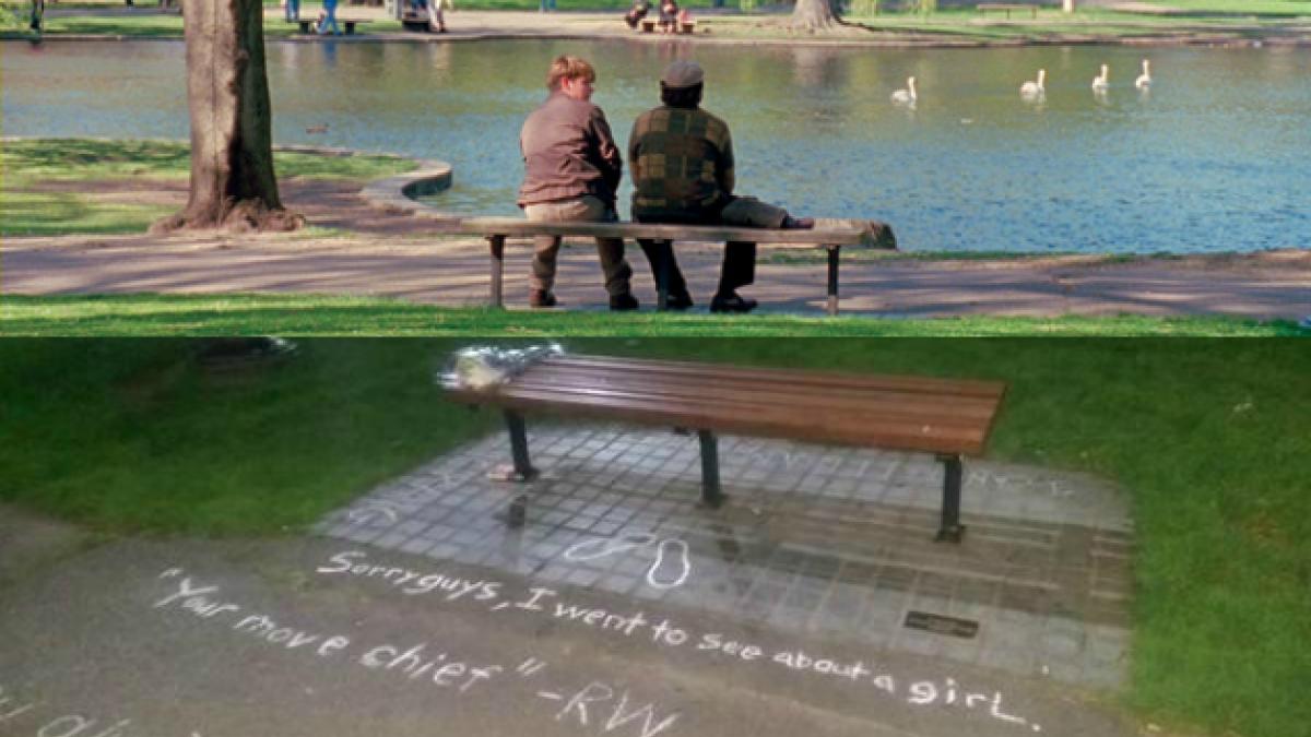 Banco donde se grabó recordada escena de Robin Williams se convierte en memorial improvisado