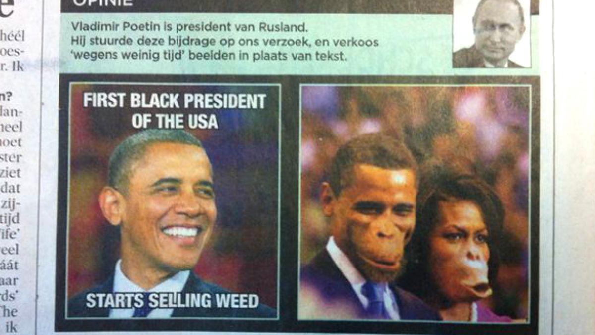 Diario belga es acusado de racismo por imagen de los Obama luciendo como simios