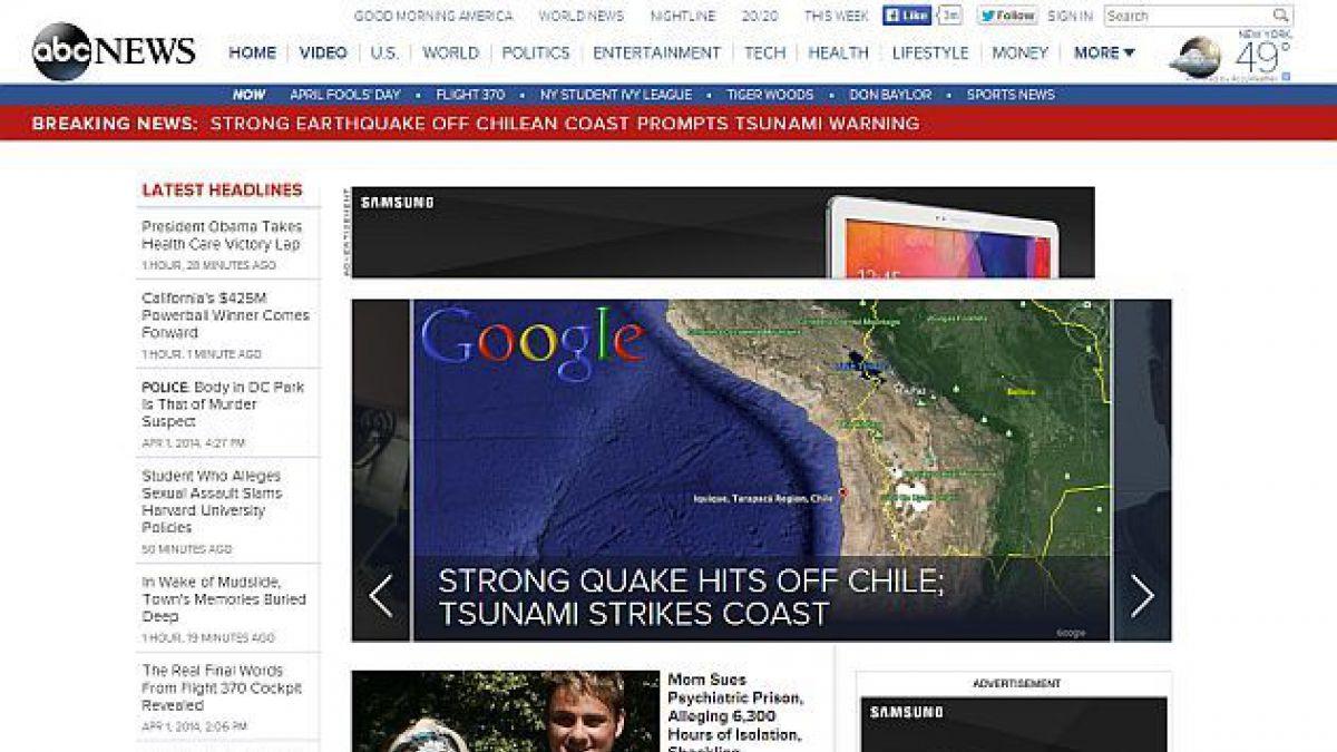 Cómo cubrió la prensa extranjera el terremoto en el norte de Chile