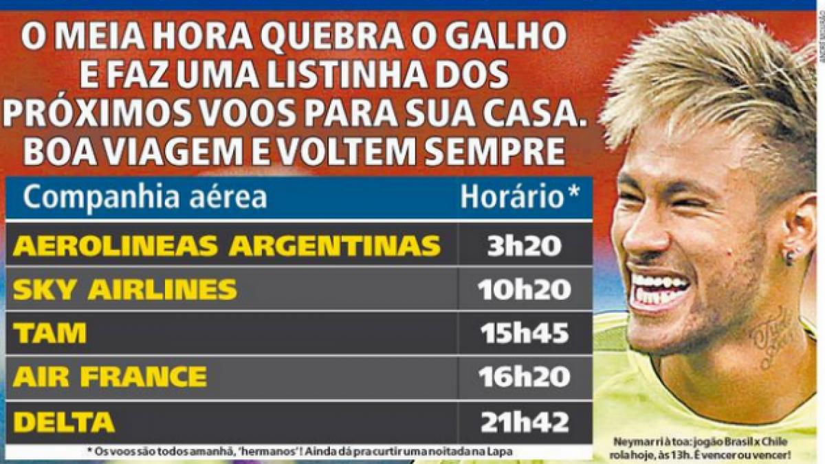 Diario brasileño se burla del resultado de hoy entre Brasil y Chile