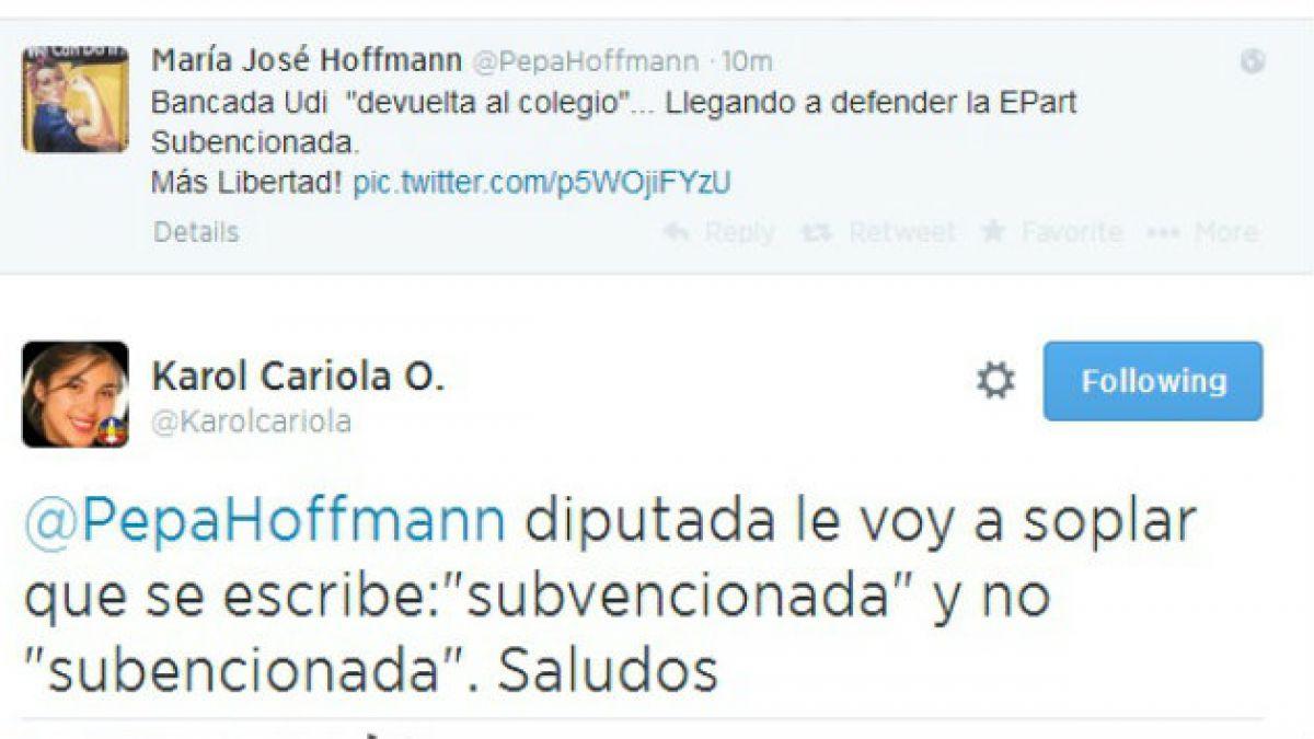Karol Cariola corrige a diputada Hoffmann por arremeter en educación con faltas de ortografías
