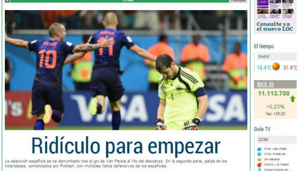 """Medios españoles califican de """"humillación"""" y """"pesadilla"""" la derrota de España ante Holanda"""