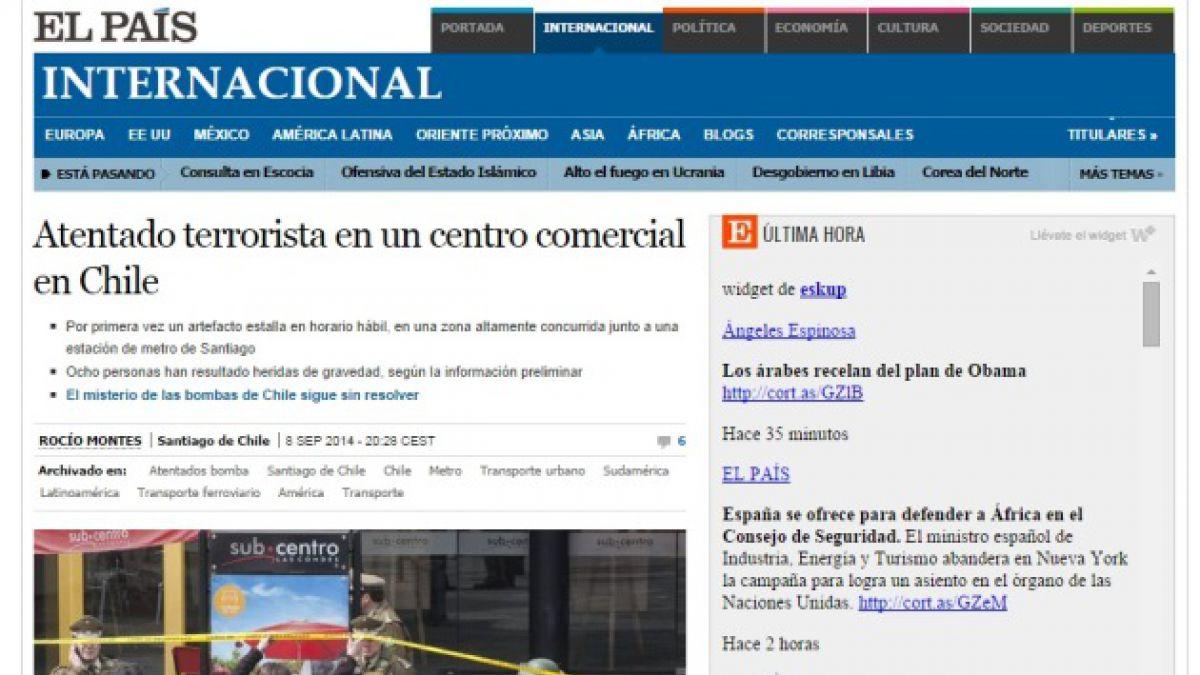 Medios internacionales dan cuenta de ataque explosivo en Chile