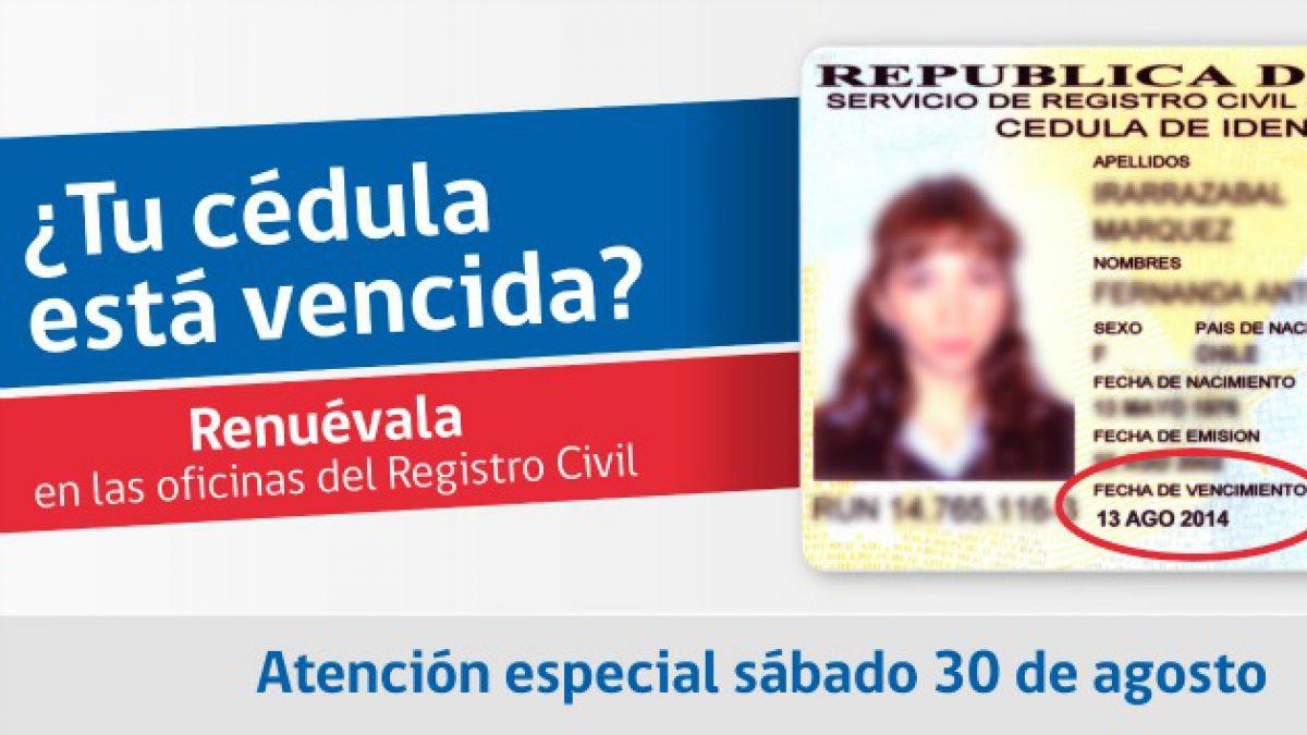 Chilenos podrán renovar cédulas de identidad vencidas este sábado