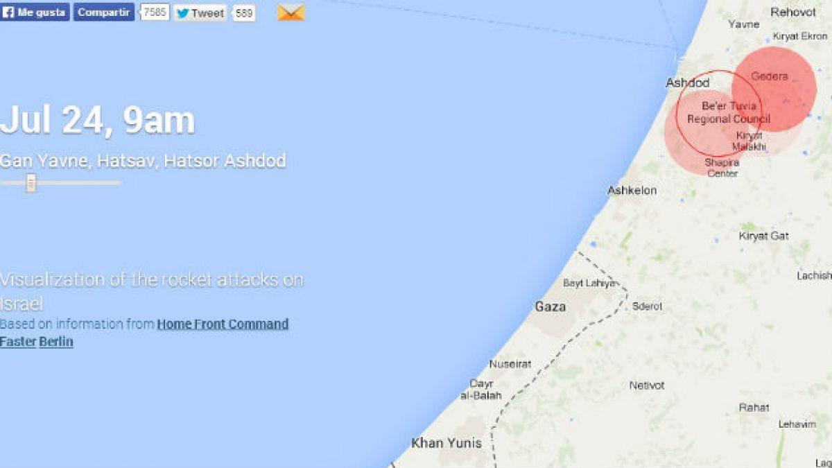Mapa muestra en tiempo real los cohetes de Hamas que impactan a Israel