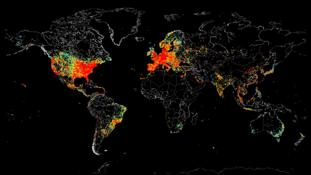 Mapa reúne todos los dispositivos del mundo conectados a Internet
