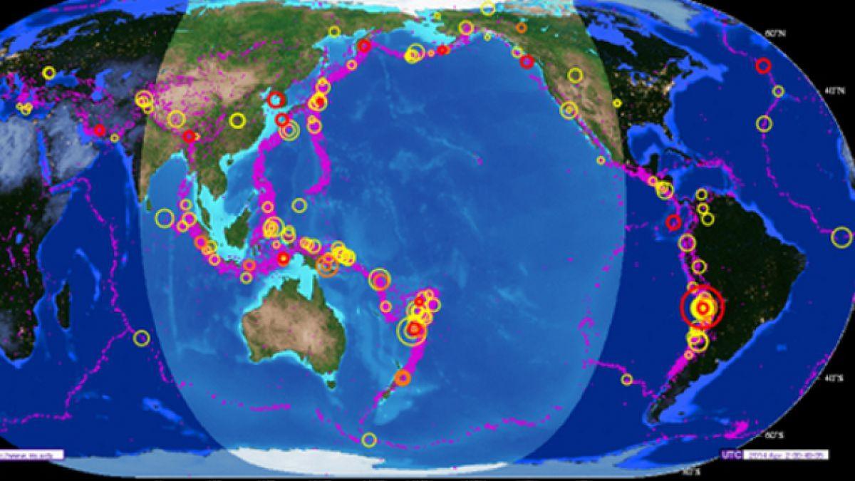 Mapa muestra actividad sísmica en las últimas dos semanas en el mundo