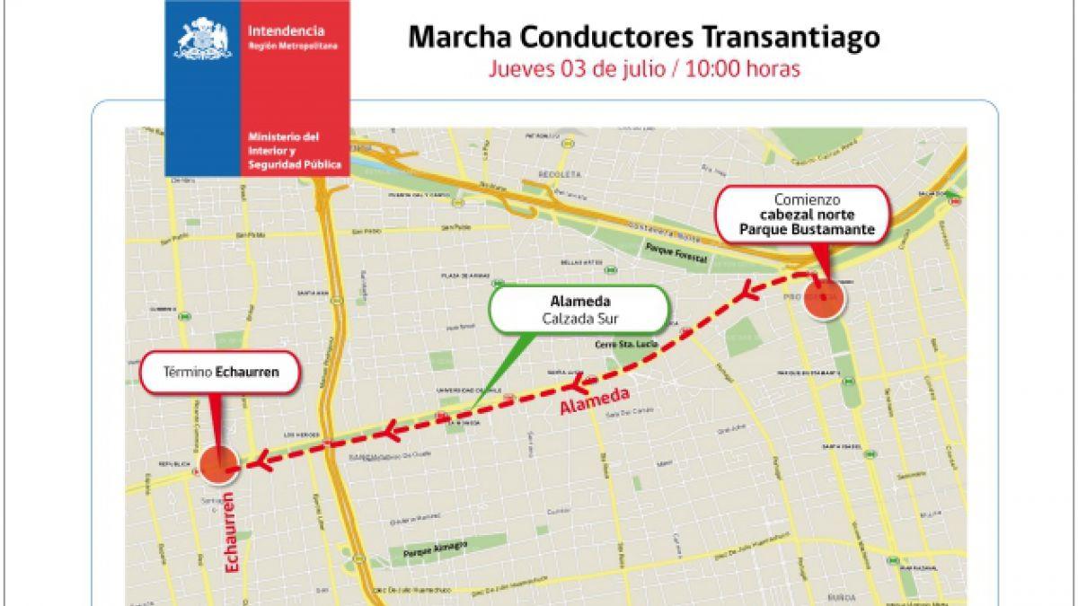 Marcha del Transantiago: Intendencia autoriza movilización para este jueves 3 de julio