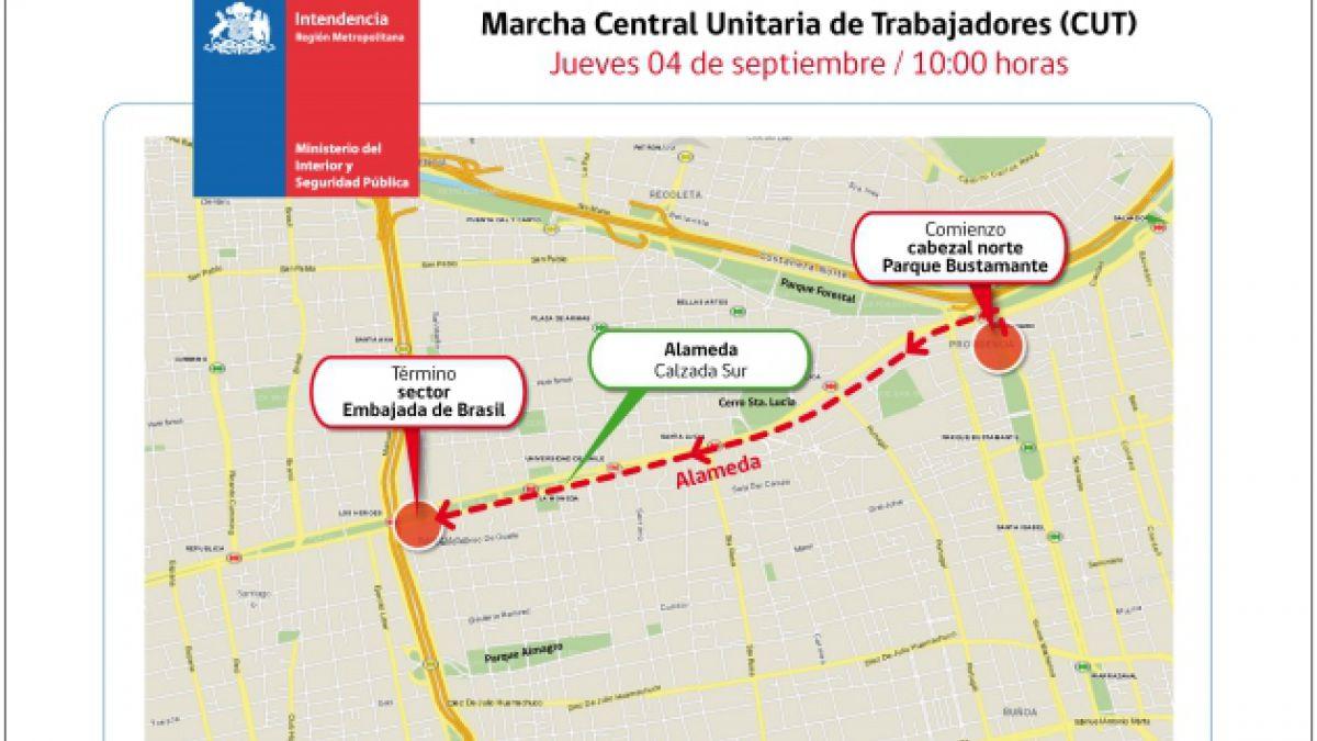 Este es el recorrido autorizado para la marcha de la CUT de este jueves