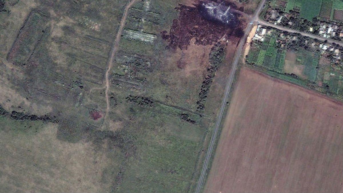 Así se ve desde el espacio el lugar en donde cayó el Malaysia MH17