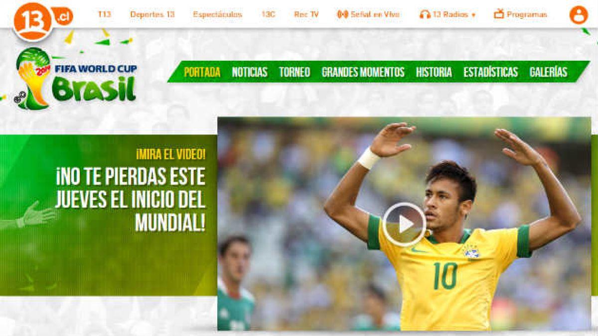 Canal 13 lanza sitio especial para seguir el Mundial de Brasil