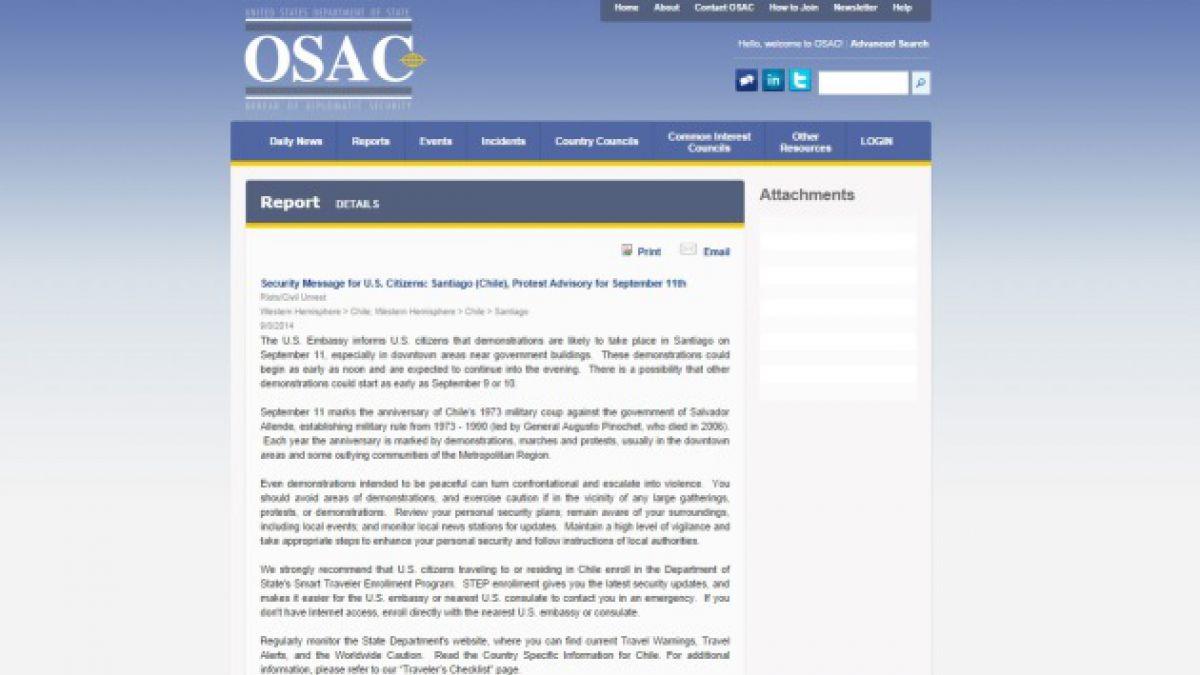 EE.UU. llama a sus ciudadanos en Chile a tomar precauciones por aniversario del Golpe