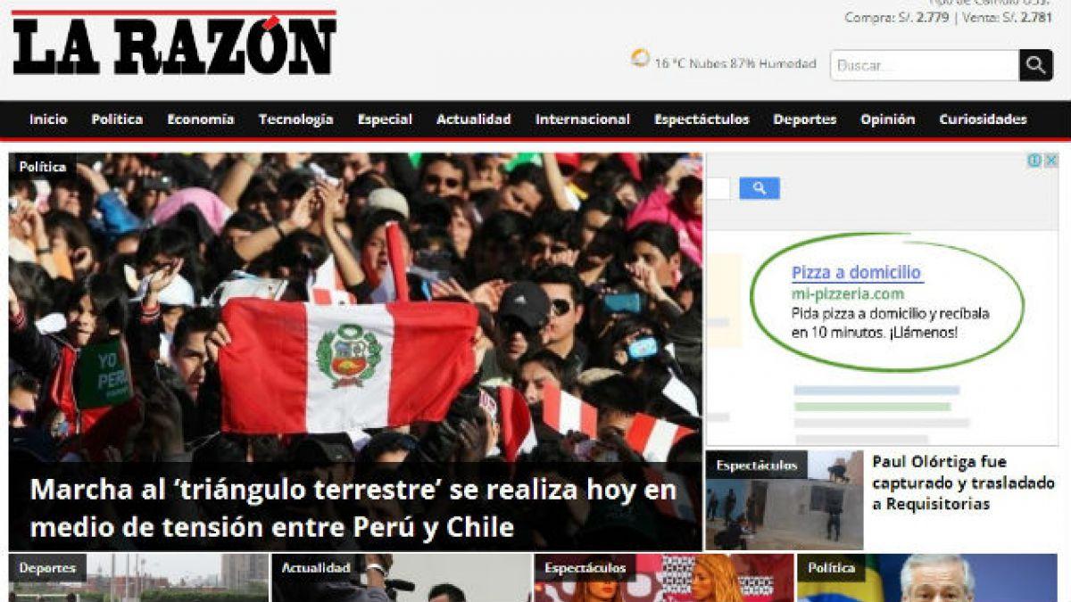 Así informan los diarios peruanos sobre la marcha al triángulo terrestre