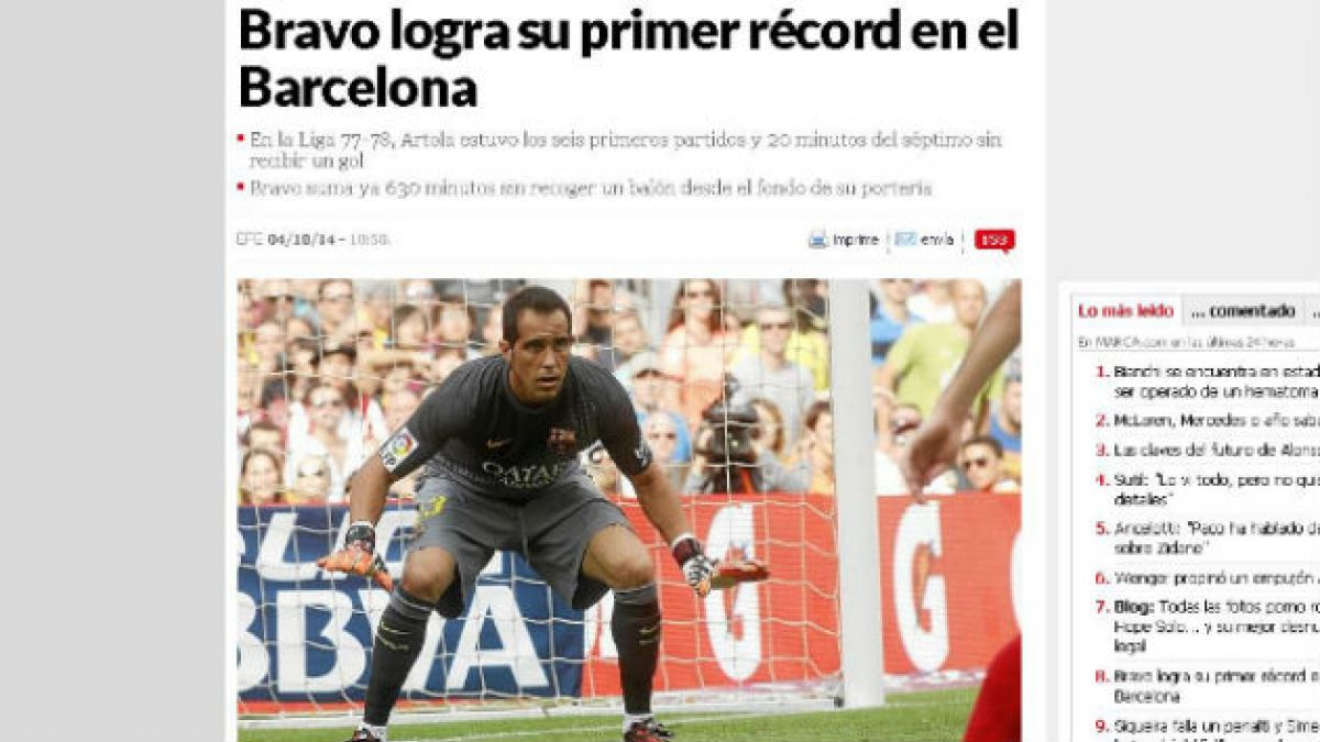 [FOTOS] Así alabó la prensa europea el récord de Claudio Bravo