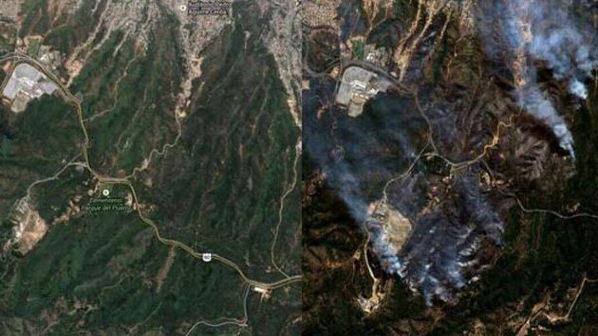 Fotos satelitales muestran los focos de los incendios en Valparaíso