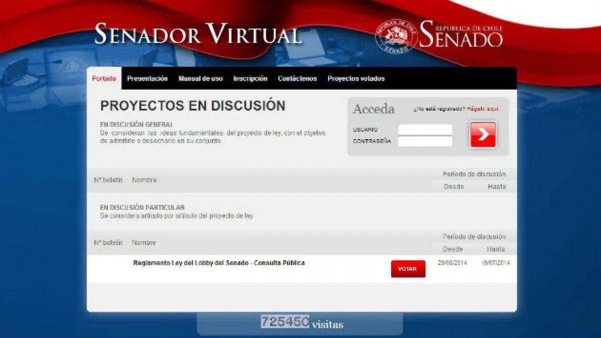 Ley del lobby: Usuarios podrán votar en línea el reglamento en plataforma Senador Virtual