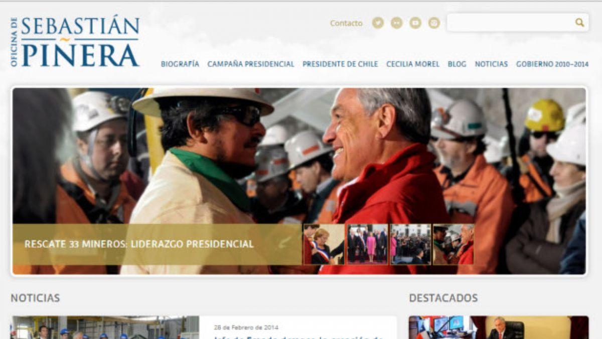 Así es el nuevo sitio web de Sebastián Piñera