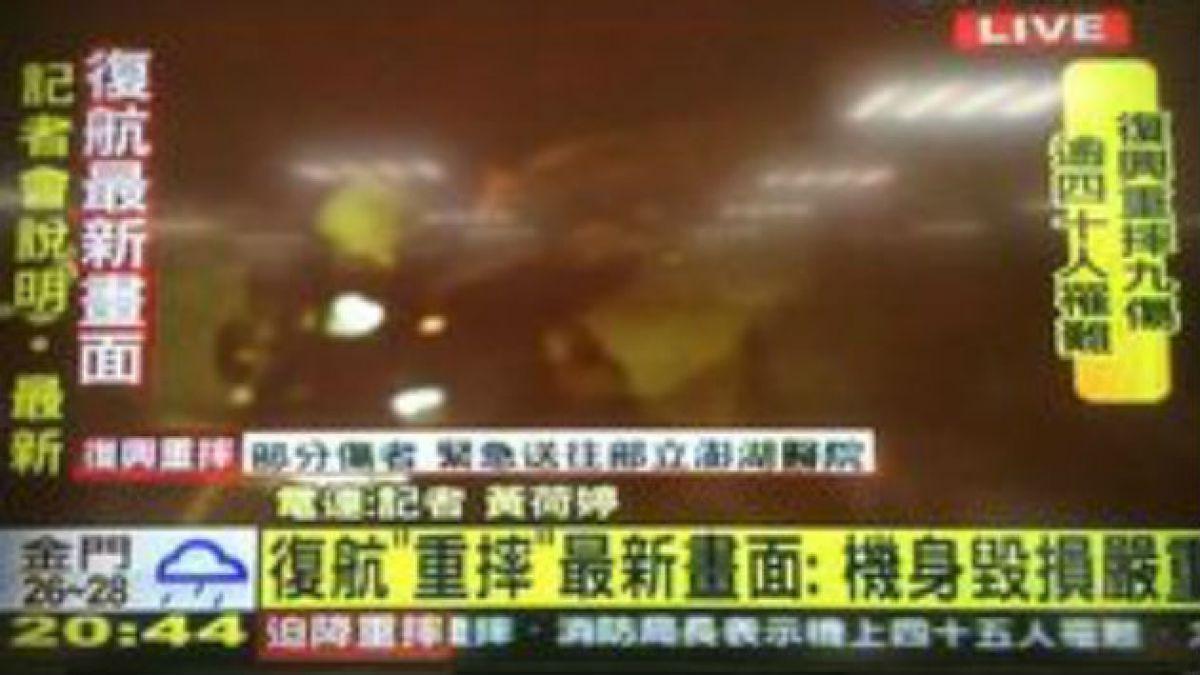 Informan de 51 muertos y 8 heridos en accidente aéreo en Taiwán